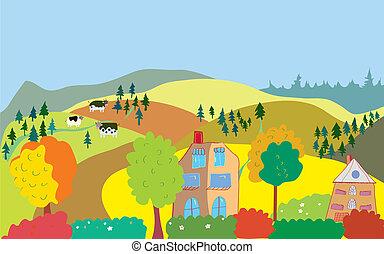 colinas, campo, árvores, casas, outono, vacas, paisagem