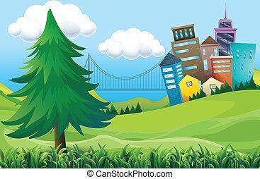 colinas, con, edificios