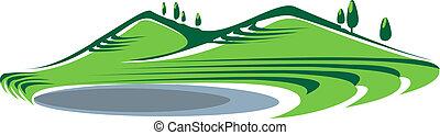 colinas, ilustración, lago