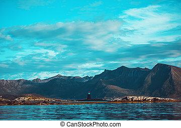 colinas, mar, noruega, summer., foto, cielo, faro