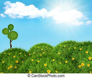 colinas, naturaleza, sun., plano de fondo, hierba verde, paisaje