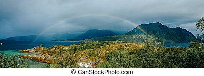 colinas, noruega, summer., foto, arco irirs, azul, panorámico, cielo, mar