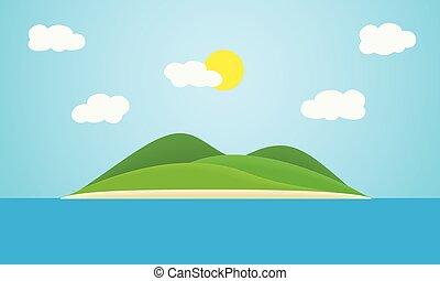 colinas, ou, anunciando, tropicais, azul, viagem, céu, sol, verão, nuvens, ilha, mar, -, sob, feriado, verde, suitable