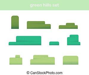 colinas verdes, iconos, aislado, blanco