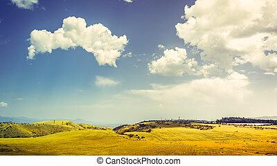 colinas verdes, y azul, cielo