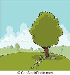 colinas, y, árboles