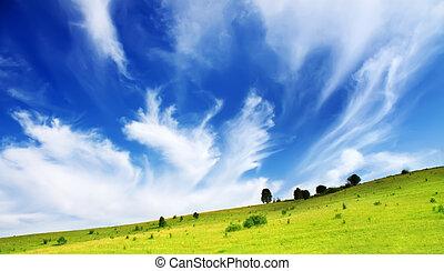 colinas, y azul, cielo