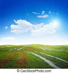 colinas, y, caminos