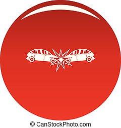 colisão, cabeça, vetorial, vermelho, ícone