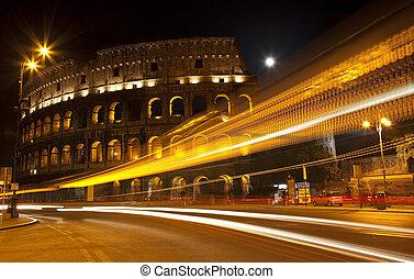 colisée, italie, résumé, rome, rue, nuit, lune