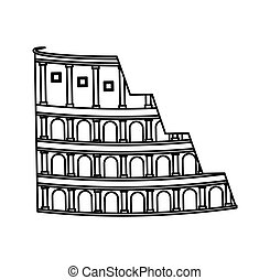 colisée, romain, isolé, icône