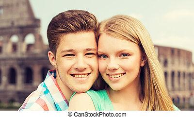 colisée, sourire, couple, sur, fond
