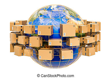 colis, 3d, livraison, expédition, la terre, around., concept, globe global, rendre