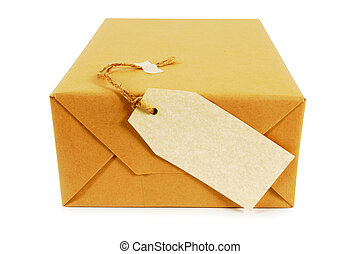 colis brun, papier, étiquette