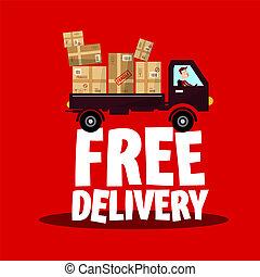 colis, symbole., gratuite, livraison, vecteur, camion, expédition, icône