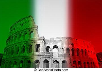 coliseo, con, el, bandera italiana, colores