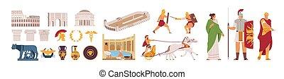coliseo, illustration., carreras, arco, gente, laurel, roma...