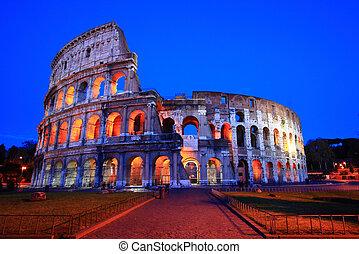 coliseo, italia, roma, noche