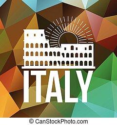 coliseo, italia, símbolo, o, su, fondo., logotipo,...