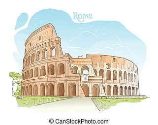 coliseo, italy., roma, illustration., vector