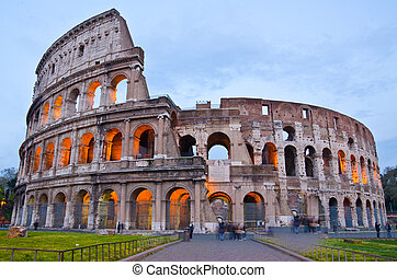 coliseo, roma, italia, anochecer