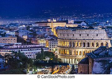 Coliseum Aerial view Night Scene, Rome