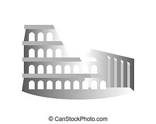 (coliseum), amfiteater, drawing., italy., rom, stylized, också, flavian, känd, colosseum