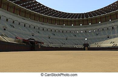 Coliseum amphitheater in Rome reconstruction 3d illustration