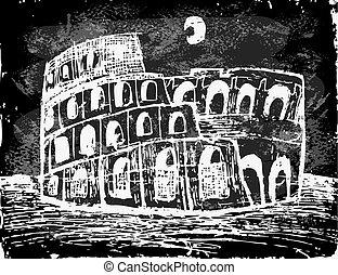 Coliseum at night - Coliseum in Rome, Italy.