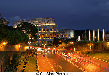 Coliseum at night in Rome, Italy.