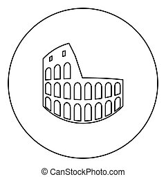 Coliseum black icon outline in circle image