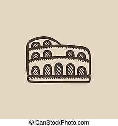 coliseum, bosquejo, icon.
