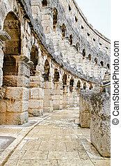 Coliseum corridor - Stone corridor way inside of ancient...