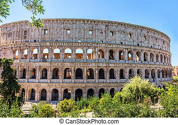 coliseum, em, folhagem, verão, vista, nenhuma pessoas, roma,...
