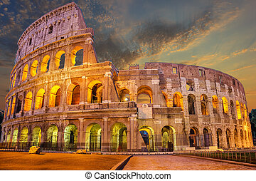 Coliseum enlighted at sunrise, Rome, Italy, no people -...