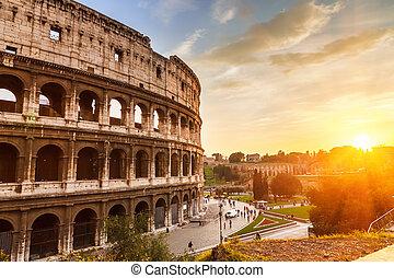 coliseum, hos, solnedgang