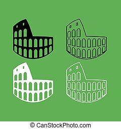 Coliseum icon  Black and white color set