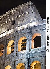 Coliseum in the night closeup