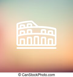 coliseum, línea, delgado, icono