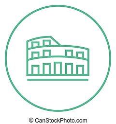 coliseum, linha, icon.