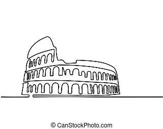 coliseum., linha, roma, editable, icon.