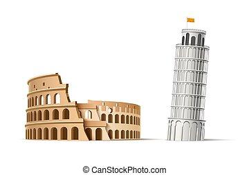 coliseum, pisa, famosos, vetorial, marco, torre, italiano