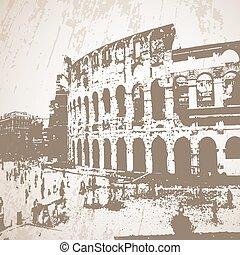 coliseum, poster., vektor, stylized