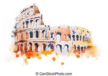 coliseum, rome., mano, acuarela, dibujado, italiano, dibujo,...