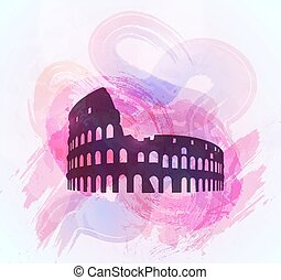 Coliseum ruin silhouette on colorful background.