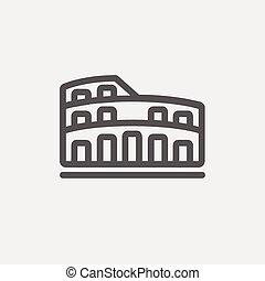 Coliseum thin line icon - Coliseum icon thin line for web...