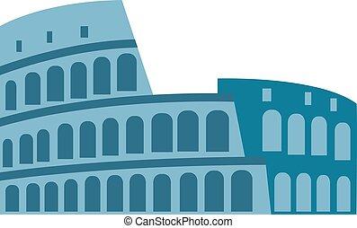coliseum, vector, aislado, illustration.