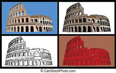 Colisseum - Set of four illustrations of the colisseum