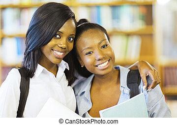 collège, américain, amis, africaine