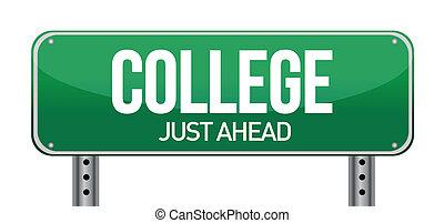 collège, juste, devant, vert, panneaux signalisations